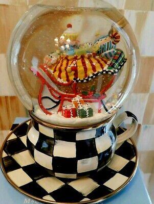 "MACKENZIE-CHILD'S ""MY CUP OF TEA"" SNOW GLOBE IN MAGICAL GIFT BOX, NEW"