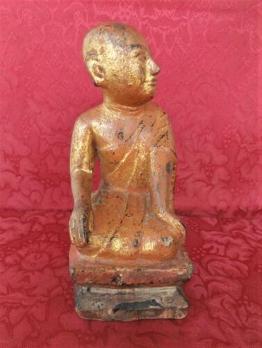 Buddha Disciple Sariputra 19th C. Carved Gilt Wood Statue Burmese Buddhist Art