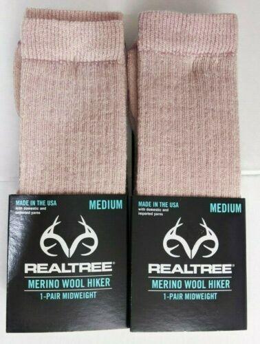 REALTREE Pink Merino Wool Blend Hiking Socks Women Medium Shoe 6-10  NEW 2 PAIRS
