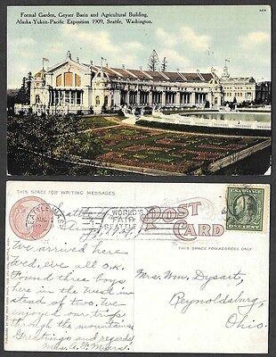 1909 Postcard   Seattle  Washington   Alaska Yukon Pacific Exposition  Garden