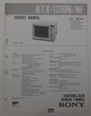 Service Manual For Sony KTX-1350N/NF Trintron Color Viewdata Terminal
