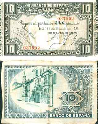 Spain 10 Ptas 1937 Banco De Bilbao  Vf Condition  Very Rare