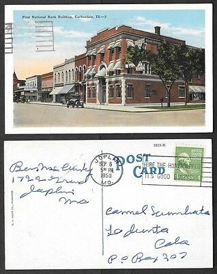 1950 Illinois Postcard   Carbondale   First National Bank Building