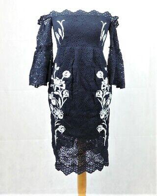 Hope & Ivy Maternity Bardot Lace Pencil Dress Size 10 uk rrp £130 CR097 DD 04