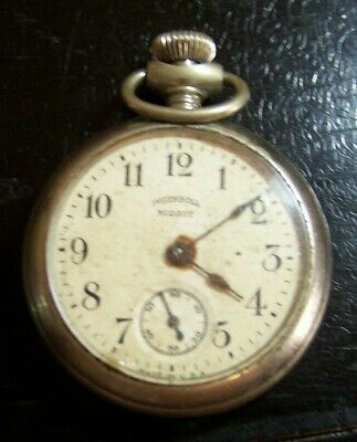 Antique INGERSOLL MIDGET Pocket Watch for parts or repair dated 1914 movements