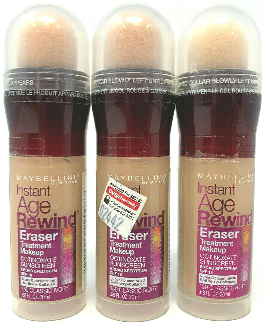 (3) Maybelline Instant Age Rewind Eraser Treatment Makeup 150 - Classic Ivory