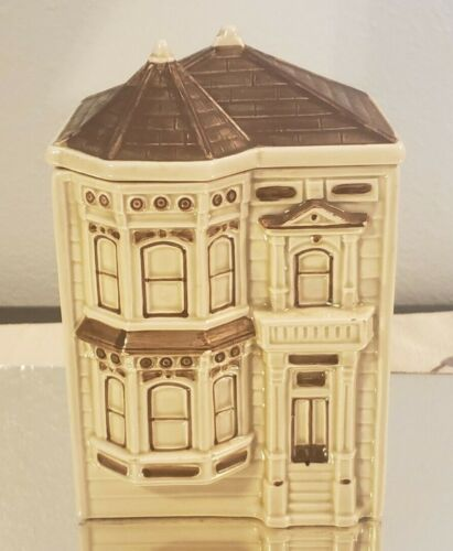 Vintage Otagiri Hand Painting Building Victorian Home Cookie Jar 1980