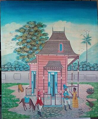"Collectible Haitian Art Painting Master Rony Guerrier 20""X24"" Haiti Cap Haitien for sale  Shipping to Canada"
