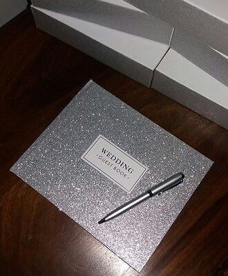 New Wedding Pretty Sparkle Silver Guest Book & Silver Pen 👰💍