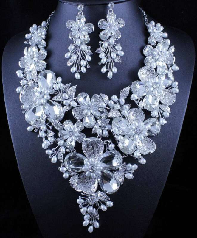 LG BOUQUET CLEAR AUSTRIAN RHINESTONE PEARL NECKLACE EARRINGS SET PAGEANT N11903C