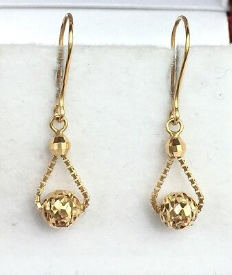 18k Solid Yellow Gold Cute SmallDangle Leverback Earrings, Diamond Cut 1 -