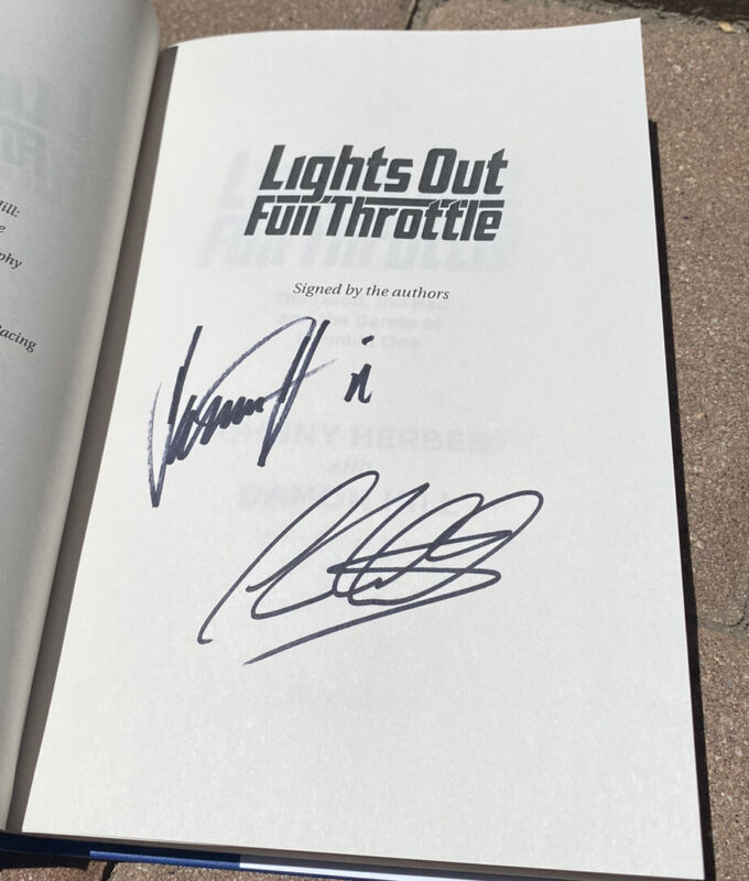Damon Hill and Johnny Herbert signed book Lights Out