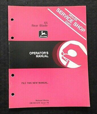 Genuine John Deere 65 Rear Blade Operators Owners Manual Nice