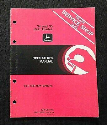 Genuine John Deere 34 35 Rear Blade Operators Owners Manual Nice