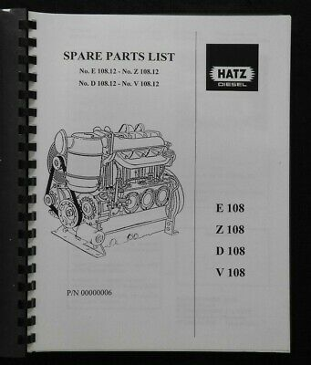 ORIGINAL HATZ E D Z V 108 .12 DIESEL ENGINE PARTS CATALOG MANUAL CLEAN
