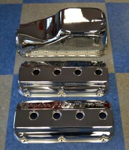 354 392 Hemi Valve Covers Chrome + OIL PAN REAR SUMP NEW KIT