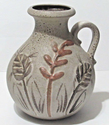 Scheurich Pottery Jug Vase W Germany 495-20 Gray Brown Speckled