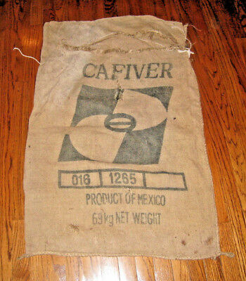 Classic Cafiver Coffee Bean  Burlap Sack Product of Mexico 69Kg 27x39""