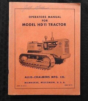 1950s Allis Chalmers Model Hd11 Crawler Tractor Operators Manual Very Nice