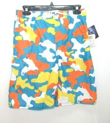 Youth Kanu Surf Boys' Camo Swim Trunks Aqua Size XL