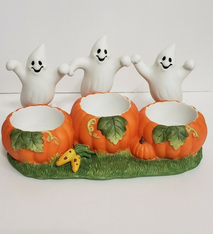 Vintage Party Lite Halloween Ghost Pumpkin Trio Candle Holders retired