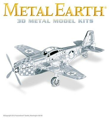 Fascinations Metal Earth Mustang P-51 WWII Fighter Plane Laser Cut 3D Model