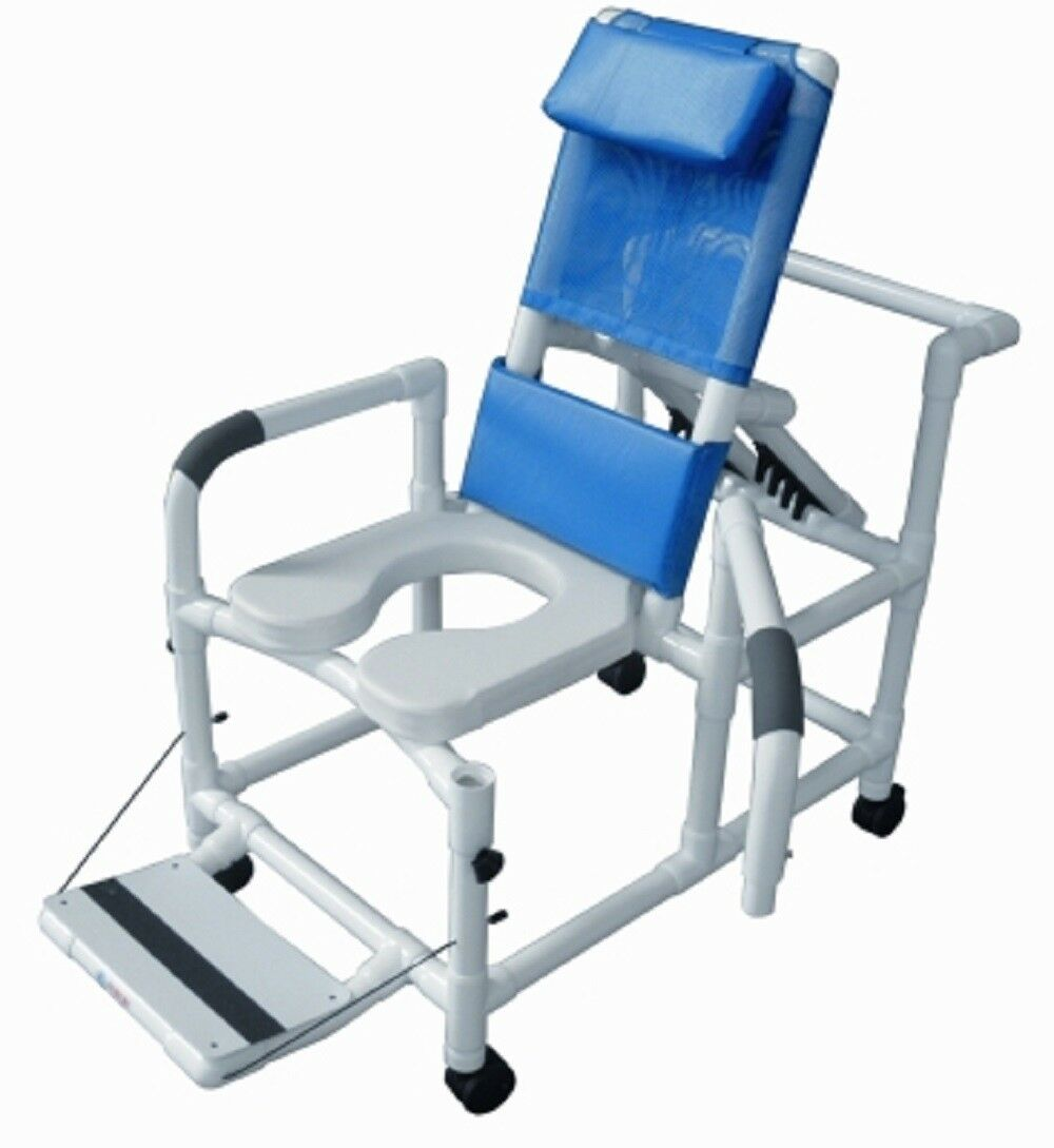 Lumex 20 Pvc Reclining Shower Commode Chair W Footrest Swing Arms Safety Belt