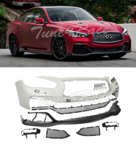 For 2014-2017 Infiniti Q50 V37 Front Bumper Set Eau Style Lip No Parking Sensor