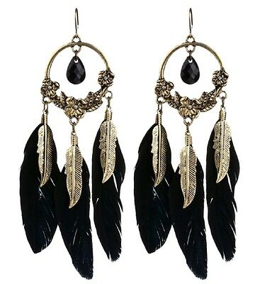 Dream Fänger Stil Bronze Blatt, schwarze Feder und Kranz Kronleuchter Ohrringe ()