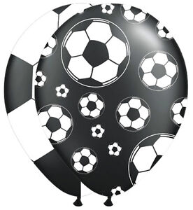 8 FOOTBALL DECORATED LATEX BALLOONS BLACK & WHITE