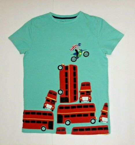 Mini Boden Boys Y 11 12 TShirt London Buses Motorcycle Union Jack British Flag
