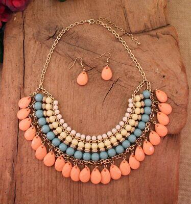 Cowgirl Peach Blue Cream White Layered Bead Necklace Earring (Bead Necklace Earring Set)