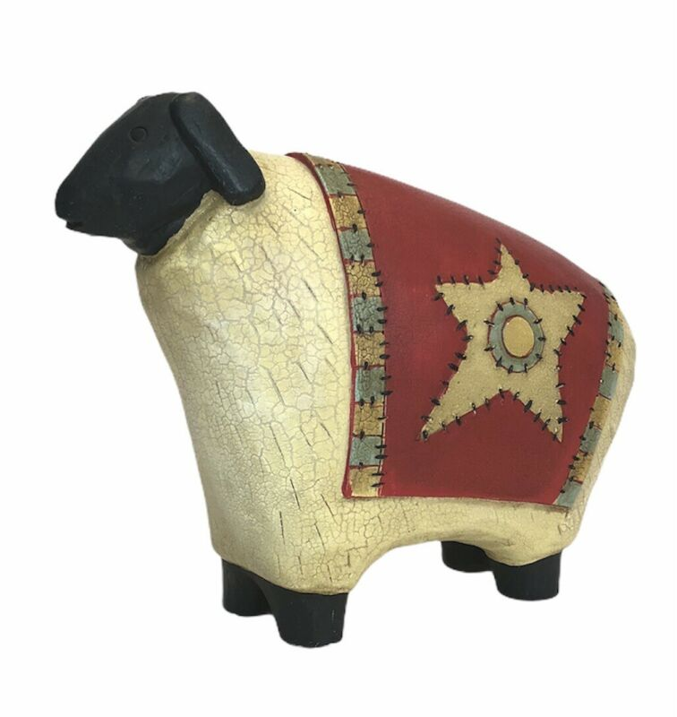 Sheep Figure Southwestern Star Resin Crackled Rustic Finish Shabby Chic Decor