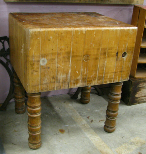 """Antique Solid Butcher Block Table 24""""x30""""x35"""" tall HEAVY Vtg Meat Kitchen Wood"""