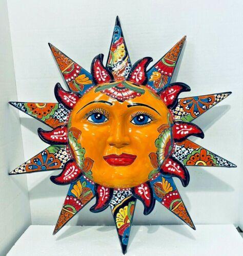 "Mexican Talavera Pottery Sun Face Sculpture Wall Hanging Folk Art X Large 23"""