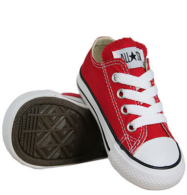 CONVERSE CHUCK TAYLOR RED /WHITE LOW TOP CANVAS FOR BABY AND TODDLERS  - Chucks Shoes For Toddlers