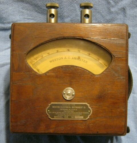 Vintage AC Ammeter Model 155 in Wooden Case, Weston Electrical Instrument Co.