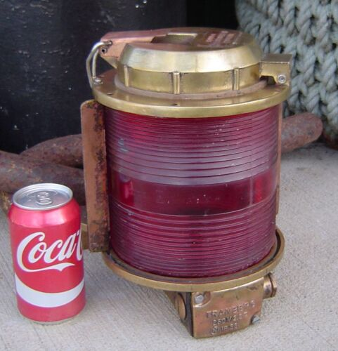 Authentic Salvaged Red Lens Brass Mast Head Light