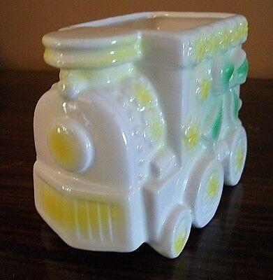 Vintage Baby Train Nursery Planter - Yellow Flowers & Green Bow Ceramic  Flower Baby Train