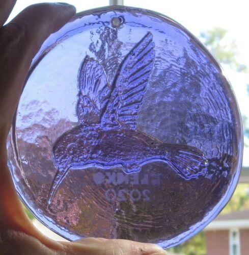 Blenko Suncatcher- Hummingbird design in elderberry purple