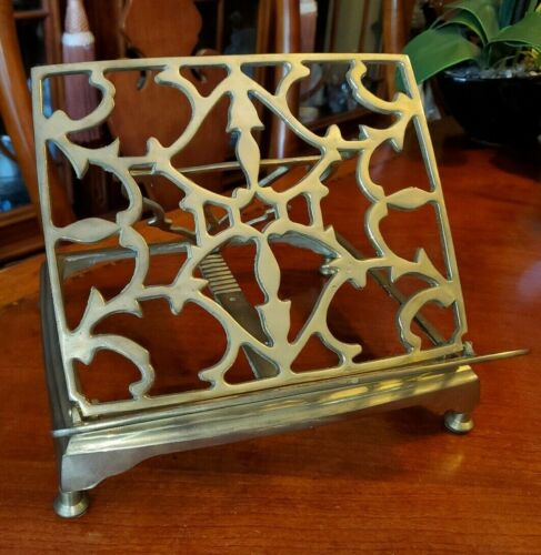 Antique Brass Bible Cookbook Stand Folding Ornate Easel NICE!