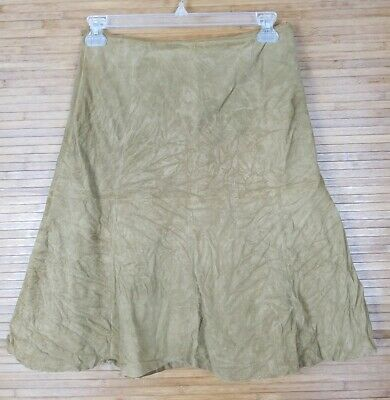 Eddie Bauer Womens Seattle Suede Washable Leather A-Line Skirt sz 8 Tan Brown