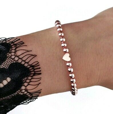 Rose gold Herz Armband ♥ Infinity filigran Perlenarmband Partner Geschenk Liebe
