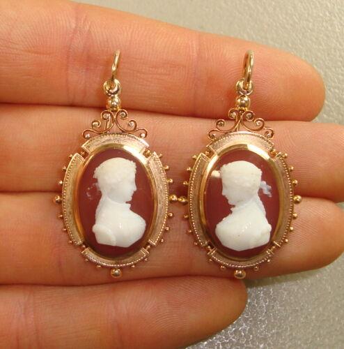 Antique 19th Century 14K Rose Gold & Sardonyx Cameo Ladies Earrings