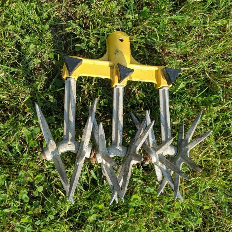 Vintage Garden Weasel Head Garden Soil .Cultivator Tool 6 Sharp Rotating Tines