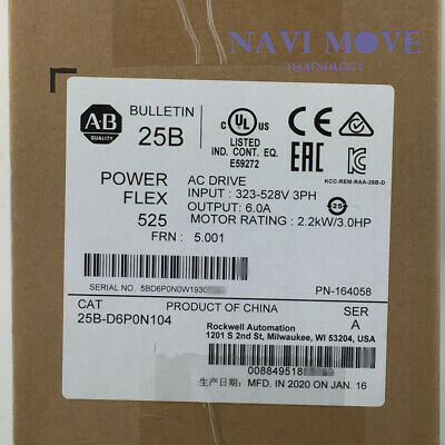 2020 New Sealed Allen-bradley 25b-d6p0n104 Powerflex 525 2.2kw 3hp Ac Drive