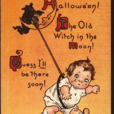 SCARCE..!  ARTIST SIGNED...CRYING BABY SNATCHED BY HALLOWEEN WITCH,MOON POSTCARD