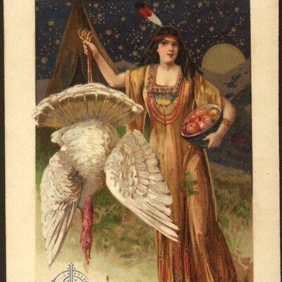 SCHMUCKER... INDIAN MAIDEN WITH WHITE TURKEY,MOON,THANKSGIVING,WINSCH POSTCARD