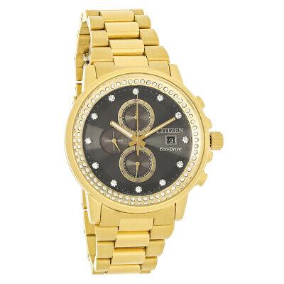 Citizen Eco-Drive Nighthawk Mens Crystal Gold Tone Chronograph Watch FB3002-61E