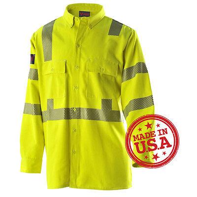 Drifire Airex Reflective Class 3 Workshirt, Hi-Vis Yellow 4X-Large - Made in USA